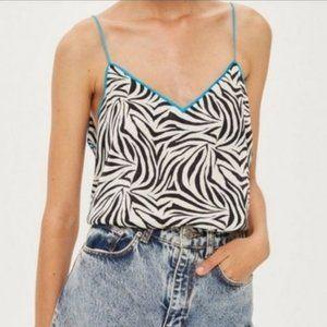NWT Topshop Zebra spaghetti strap V-neck top size 6 (65)